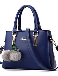 cheap -Women's Bags PU(Polyurethane) Tote Feathers / Fur / Zipper Drak Red / Fuchsia / Sky Blue