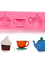 Недорогие -Чайник чашка послеобеденного торта силиконовый торт формы сахар шоколад украшения инструмент