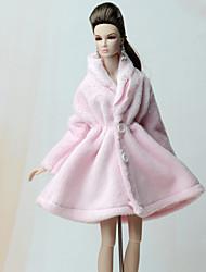 abordables -Manteaux Manteau Pour Poupée Barbie Rose Pale Flanelle Toison Manteau Pour Fille de Jouets DIY