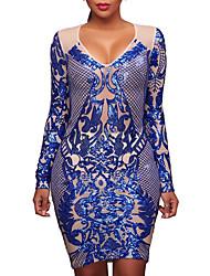 economico -Per donna Skinny Attillato Vestito - Con lustrini Retato, Monocolore A V Mini