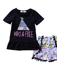 abordables -Ensemble de Vêtements Fille Sortie Vacances Géométrique Galaxie Imprimé Coton Printemps Eté Mignon Décontracté Noir