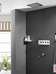 Недорогие -Современный На стену Дождевая лейка Ручная лейка входит в комплект Термостатический Керамический клапан Четыре Ручки пять отверстий Хром,