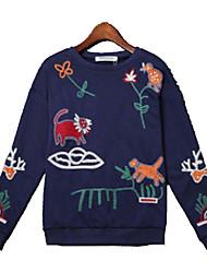 preiswerte -Damen Pullover Extraklein Alltag Einfach Druck Rundhalsausschnitt Ohne Futter Mikro-elastisch Baumwolle Langärmelige Frühling
