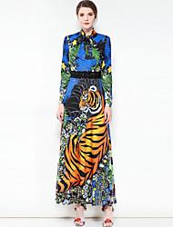 baratos -Mulheres Festa Fofo Boho balanço Longo Vestido, Básico Estampa Colorida Animal Colarinho Chinês Manga Longa