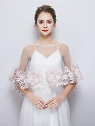 cheap -Sleeveless Tulle Wedding / Party / Evening Women's Wrap With Embroidery Capelets