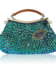 cheap -Women's Bags Polyester Evening Bag Beading for Wedding / Event / Party Purple / Fuchsia / Gray Green