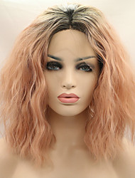 cheap -2017 Sylvia Synthetic Lace Front Wigs Black Roots Rose Pink Natural Wave Middle Length Bob Hairstyle Heat Resistant Synthetic Wig