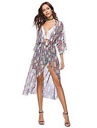 cheap -Women's Beach Simple Boho Summer Plus Size Blouse,Geometric V Neck Half Sleeves Polyester