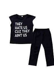 Недорогие -Девочки Набор одежды Повседневные Праздники Хлопок Однотонный С принтом Без рукавов Панк & Готика Уличный стиль Черный