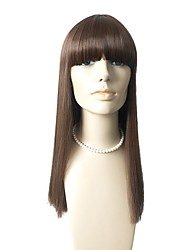 cheap -Synthetic Wig Straight With Bangs Synthetic Hair Natural Hairline Brown Wig Capless