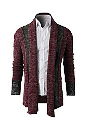 cheap -Men's Daily Simple Print Striped Shirt Collar Sweater Cardigan, Long Sleeves Spring Polyester