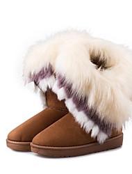 billige -Dame Pels / Fleece Vinter Modestøvler Støvler Flade hæle Sort / Brun / Grøn