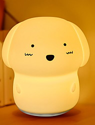 baratos -1pç Cachorros LED Night Light Toque 7 cores USB Para Crianças Recarregável Sensor de toque Decoração Com porta USB