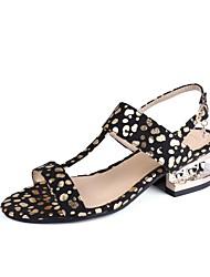 Недорогие -Жен. Обувь Нубук Весна Лето Удобная обувь С ремешком на лодыжке Сандалии Каблук с хрустальной отделкой Открытый мыс Кристаллы для