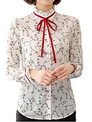 Недорогие -Жен. Офис Бант Рубашка Воротник-стойка Уличный стиль Цветочный принт