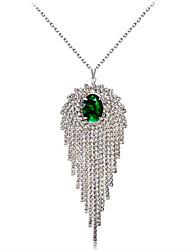 abordables -Mujer Cristal / Zirconia Cúbica Collares con colgantes - Cristal, Zirconio, Plateado Clásico, Moda Plata Gargantillas 1 Para Boda, Fiesta
