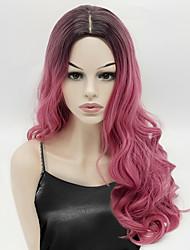 abordables -Pelucas sintéticas Ondulado Pelo Ombre Rosa Mujer Sin Tapa Peluca de carnaval Peluca de Halloween Peluca natural Larga Pelo sintético