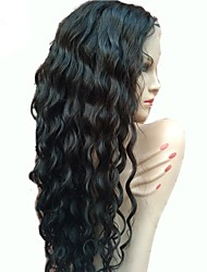 Недорогие -Необработанные Не подвергавшиеся окрашиванию Натуральные волосы Лента спереди Парик Бразильские волосы Волнистый Волнистые С пушком 130%