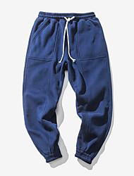 Homens Normal Simples Cintura Média Micro-Elástica Chinos Calças, POLY Primavera Sólido