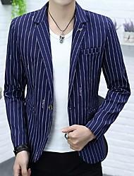 cheap -Men's Daily Work Simple Spring Fall Regular Blazer, Striped Shirt Collar Acrylic Polyester