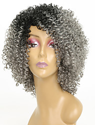 cheap -Synthetic Wig Kinky Curly Synthetic Hair African American Wig Gray Wig 8-11inch Capless