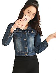 abordables -Veste en jean Femme,Couleur Pleine Sortie Chic de Rue Automne Manches longues Col de Chemise Normal Autres