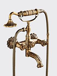 abordables -Antique Set de centre Séparé Soupape céramique Deux poignées Deux trous Cuivre antique, Robinet de douche