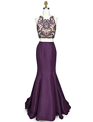 cheap -Mermaid / Trumpet Scalloped Floor Length Chiffon Over Satin Graduation / Cocktail Party / Prom / Holiday Dress with Beading Crystal