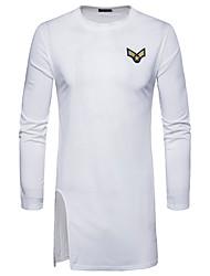 billige -Rund hals Herre - Ensfarvet Bomuld T-shirt / Langærmet