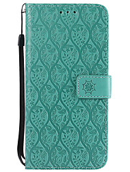 cheap -Case For Nokia Nokia 6 Nokia 5 Card Holder Wallet with Stand Flip Pattern Full Body Cases Solid Color Lace Printing Hard PU Leather for