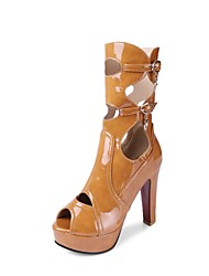 cheap -Women's Shoes Patent Leather Spring / Summer Fashion Boots Boots High Heel Peep Toe Mid-Calf Boots Buckle Black / Beige / Brown