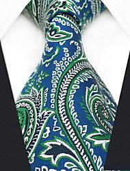 abordables -cravate en rayonne de travail de fête des hommes - bloc de couleur paisley jacquard