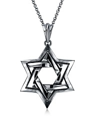 cheap -Men's Pendant Necklace - Stainless Steel Star, Star of David Vintage Silver Necklace One-piece Suit For Ceremony, Bar