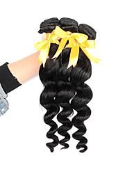 cheap -Brazilian Hair Loose Wave Human Hair Weaves 3pcs Natural Color Hair Weaves