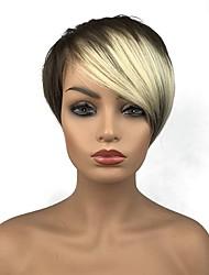 abordables -Perruque Synthétique Droit Avec Frange Cheveux Synthétiques Partie latérale Blond Perruque 13 cm Sans bonnet