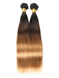 cheap -2 pieces Black/Medium Brown/Strawberry Blonde Straight Indian Human Hair Weaves Hair Extensions