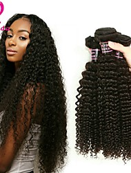 cheap -Brazilian Hair Kinky Curly Virgin Human Hair Natural Color Hair Weaves Human Hair Weaves Natural Black