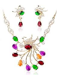 Недорогие -Жен. Комплект ювелирных изделий - Искусственный бриллиант Простой, Мода Включают Ожерелья-цепочки Золотой Назначение Свадьба / Для вечеринок