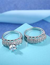 preiswerte -Damen Kubikzirkonia Strass Silber Bandring - 2pcs Kreisform Retro Elegant Für Hochzeit Verlobung Zeremonie
