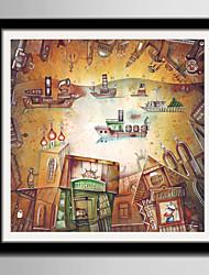 Недорогие -Абстракция Мультипликация Иллюстрации Предметы искусства,Пластик материал с рамкой For Украшение дома Предметы искусства в рамках Гостиная