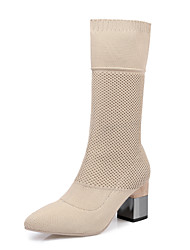 baratos -Mulheres Sapatos Tricô Primavera Outono Botas da Moda Botas Salto Robusto Dedo Apontado Botas Cano Médio para Festas & Noite Preto Amêndoa