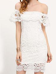 abordables -Mujer Noche Encaje Vestido - Encaje, Color sólido Sobre la rodilla Hombros Caídos Blanco