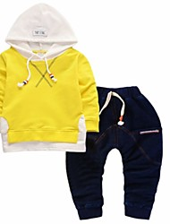 cheap -Boys' Daily Sports Solid Clothing Set, Cotton Spring Fall Long Sleeves Blue Black Yellow