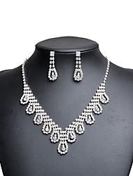 cheap -Women's Cubic Zirconia / Rhinestone Imitation Diamond Drop Jewelry Set 1 Necklace / Earrings - Classic / Vintage / Elegant Silver Jewelry