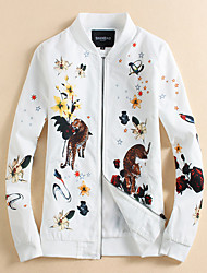 cheap -Men's Ordinary Plus Size Jacket-Floral/Botanical,Print Stand