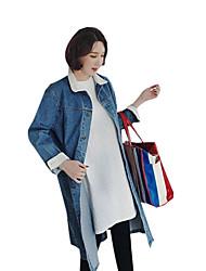 cheap -Women's Plus Size Denim Jacket - Solid V Neck