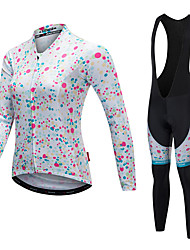 cheap -Malciklo Women's Long Sleeves Cycling Jersey with Bib Tights - White Black Bike Clothing Suits, Thermal / Warm, Quick Dry, Anatomic