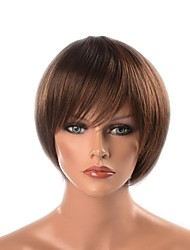 """cheap -Synthetic Wig Yaki Straight Layered Haircut Synthetic Hair Natural Hairline Brown Wig Short / 28.7""""(Approx.73cm) / 8.5"""" Capless"""