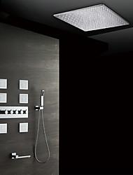 abordables -Moderne Montage mural Douche pluie Douchette inclue Thermostatique Soupape céramique Cinq poignées neuf trous Chrome, Robinet de douche