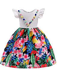 cheap -Girl's Daily Going out Solid Floral Dress, Cotton Polyester Spring Summer Sleeveless Cute Active White